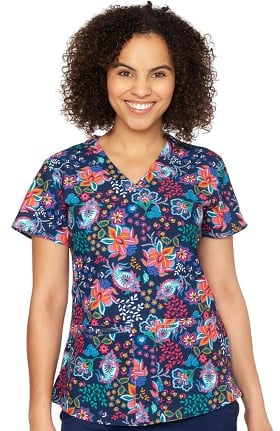 Clearance Originals by Med Couture Women's Serena A Touch of Folk Print Scrub Top