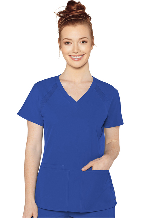 Peaches by Med Couture Women's Raglan Solid Scrub Top