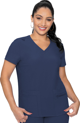 Energy by Med Couture Women's Knit Back Solid Scrub Top