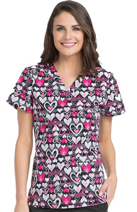 MC2 by Med Couture Women's Niki V-Neck Breast Cancer Awareness Heart Print Scrub Top