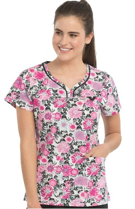 Clearance Med Couture Originals Women's Lexi Floral Print Scrub Top