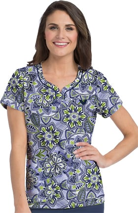 MC2 by Med Couture Women's Lexi Floral Print Scrub Top
