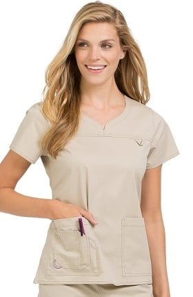 Clearance MC2 by Med Couture Women's Lexi Sport Neckline Solid Scrub Top