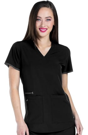 Clearance Med Couture Originals Women's Serena V-Neck Racerback Shirttail Solid Scrub Top