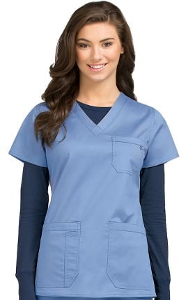 MC2 by Med Couture Women's Niki V-Neck Solid Scrub Top