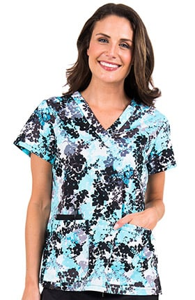 Peaches Uniforms Women's Valerie V-Neck Floral Print Scrub Top