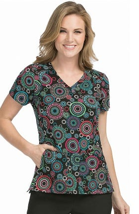 Clearance Activate by Med Couture Women's V-Neck Geometric Print Scrub Top
