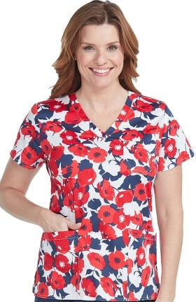 Clearance Med Couture Originals Women's Mia V-Neck Floral Print Scrub Top