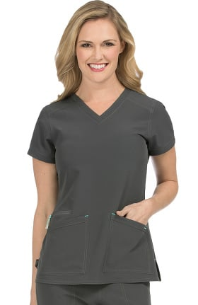 Air by Med Couture Women's Sky High V-Neck Solid Scrub Top