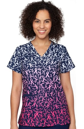 Clearance Originals by Med Couture Women's Valerie Fight Like A Girl Print Scrub Top