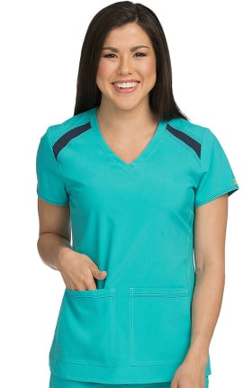 Activate by Med Couture Women's Color Block V-Neck Solid Scrub Top