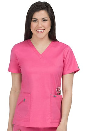 Med Couture Women's Mobility V-Neck Solid Scrub Top
