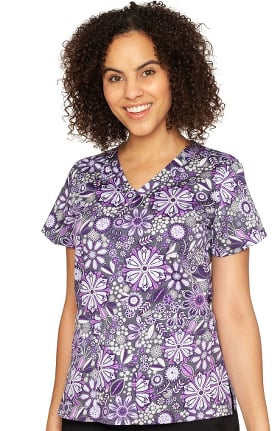 Clearance Originals by Med Couture Women's Vicky Assorted Petals Print Scrub Top