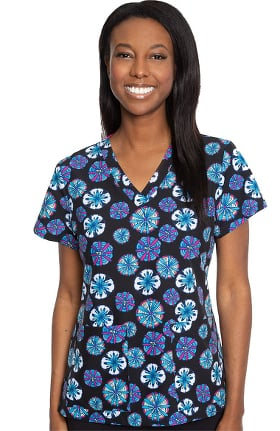 Clearance Med Couture Originals Women's Vicky Bright Medallion Print Scrub Top