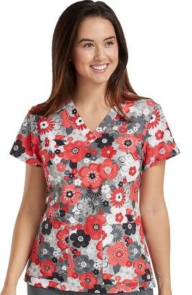 Med Couture Originals Women's Valerie V-Neck Floral Print Scrub Top