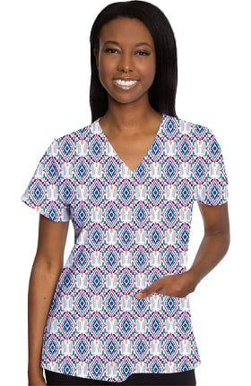 Clearance Med Couture Originals Women's Vicky Diamond Daze Print Scrub Top