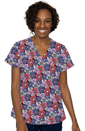 Med Couture Originals Women's Vicky Daisy Chain Print Scrub Top