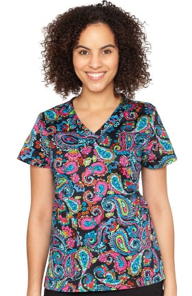 Clearance Originals by Med Couture Women's Vicky Festive Paisley Print Scrub Top