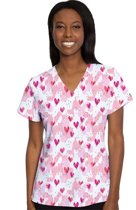 Clearance Med Couture Originals Women's Vicky Happy Heart Print Scrub Top