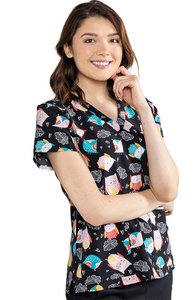 Clearance Med Couture Originals Women's Vicky Hootie Print Scrub Top