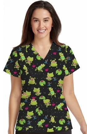 Med Couture Originals Women's Valerie V-Neck Frog Print Scrub Top