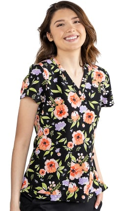 Med Couture Originals Women's Vicky Flower Fields Print Scrub Top