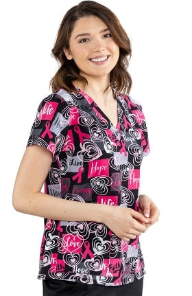 Med Couture Originals Women's Vicky Live Life Love Hope Print Scrub Top
