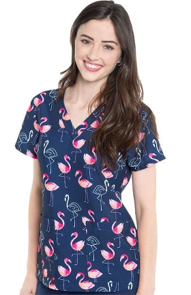Clearance Med Couture Originals Women's Vicky Fancy Flamingos Print Scrub Top