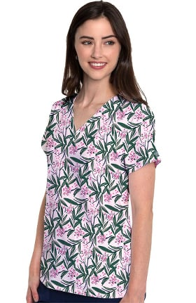 Med Couture Originals Women's Vicky Tropical Palm Print Scrub Top