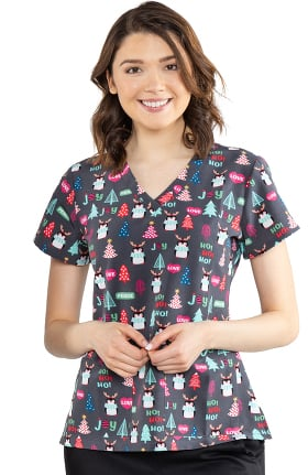 Clearance Energy by Med Couture Women's Penguin Party Print Scrub Top