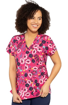Med Couture Originals Women's Vicky Wimsical Floral Print Scrub Top