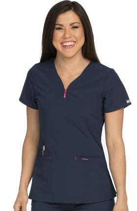 Air By Med Couture Women's Zippity V-Neck Solid Scrub Top