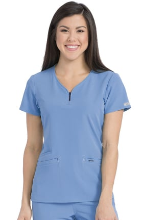 Clearance Air By Med Couture Women's Zippity V-Neck Solid Scrub Top