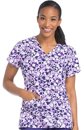 Air by Med Couture Women's V-Neck Geometric Print Scrub Top