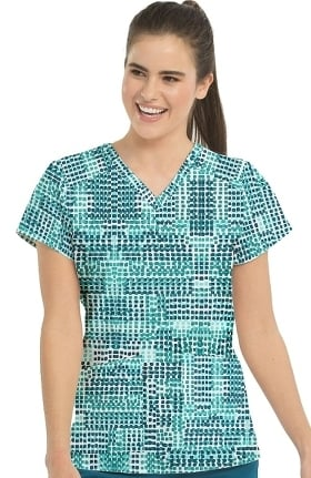 Clearance Med Couture Originals Women's V-Neck Geometric Print Scrub Top