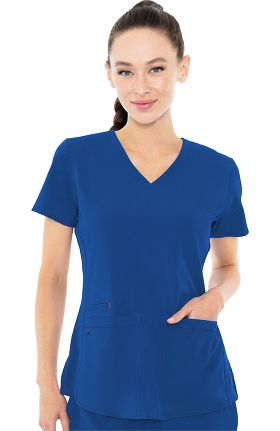 Energy by Med Couture Women's Serena V-Neck Racerback Shirttail Solid Scrub Top