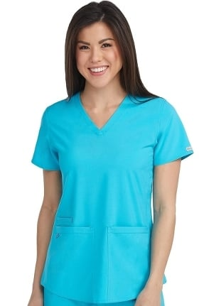 Clearance Energy by Med Couture Women's Serena V-Neck Racerback Shirttail Solid Scrub Top