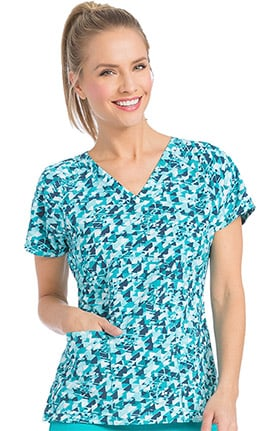 Air by Med Couture Women's Spirit V-Neck Abstract Print Scrub Top