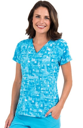 Air by Med Couture Women's Spirit V-Neck Geometric Print Scrub Top