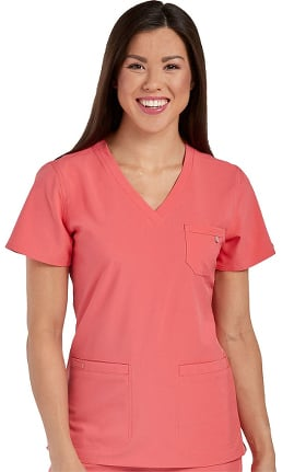 Energy by Med Couture Women's Mia V-Neck Chest Pocket Solid Scrub Top