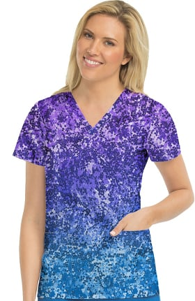 Activate by Med Couture Women's In Motion Abstract Print Scrub Top