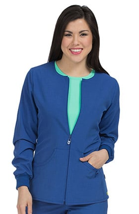 Clearance Activate by Med Couture Women's Warm Terrain Zip Up Solid Scrub Jacket