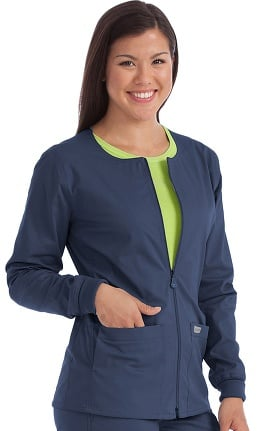 Med Couture Originals Women's In-Seam Zip Front Solid Warm Up Scrub Jacket