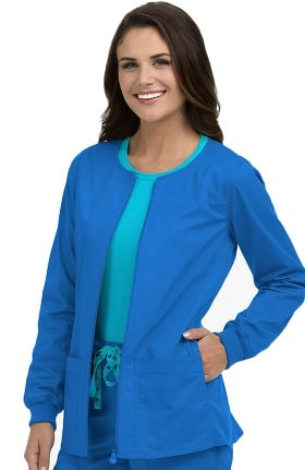 Med Couture Women's In-Seam Zip Front Solid Warm Up Scrub Jacket