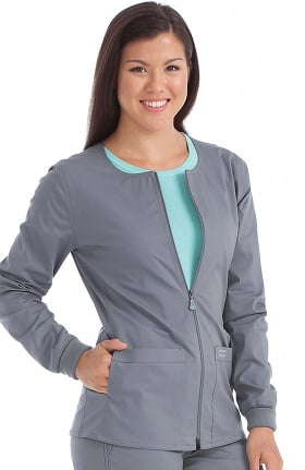 Clearance Med Couture Originals Women's In-Seam Zip Front Solid Warm Up Scrub Jacket