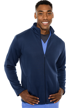 Activate by Med Couture Men's Med Tech Zip Up Solid Scrub Jacket