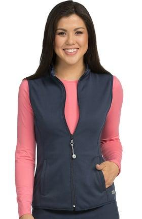 Med Couture Originals Women's Med Tech Zip Up Solid Scrub Vest