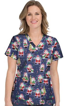 Med Couture Originals Women's Anna Santa Claus Print Scrub Top