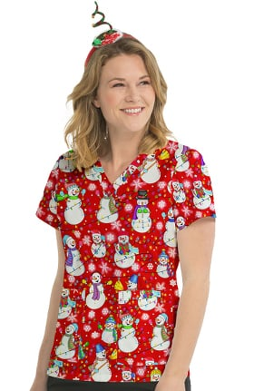 Med Couture Originals Women's Anna Snowman Print Scrub Top