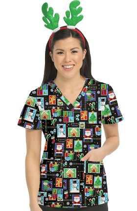 Clearance Med Couture Originals Women's Anna Winter Print Scrub Top